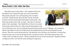 Print <i>Rosa Parks: Life After the Bus</i> reading comprehension.