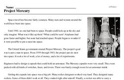 Print <i>Project Mercury</i> reading comprehension.