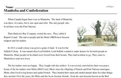 Print <i>Manitoba and Confederation</i> reading comprehension.