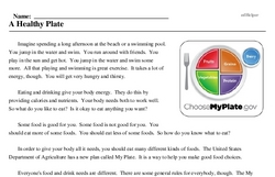 Print <i>A Healthy Plate</i> reading comprehension.