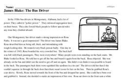 Print <i>James Blake: The Bus Driver</i> reading comprehension.