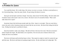 Print <i>A Problem for James</i> reading comprehension.