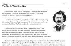 Print <i>The North-West Rebellion</i> reading comprehension.