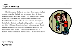 Print <i>Types of Bullying</i> reading comprehension.