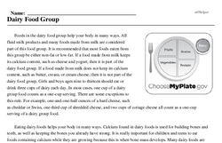 Print <i>Dairy Food Group</i> reading comprehension.