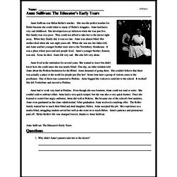 Print <i>Anne Sullivan: The Educator's Early Years</i> reading comprehension.