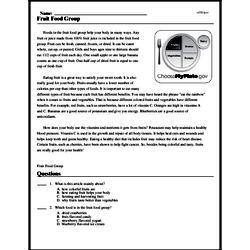 Print <i>Fruit Food Group</i> reading comprehension.