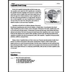 Print <i>Vegetable Food Group</i> reading comprehension.