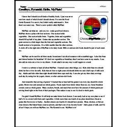 Print <i>Goodbye, Pyramid; Hello, MyPlate!</i> reading comprehension.