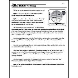 Print <i>MyPlate: The Dairy Food Group</i> reading comprehension.