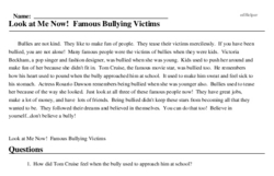 Print <i>Look at Me Now! Famous Bullying Victims</i> reading comprehension.