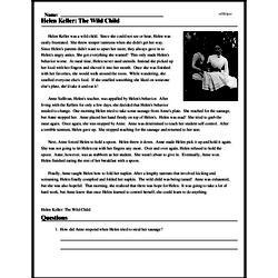 Print <i>Helen Keller: The Wild Child</i> reading comprehension.