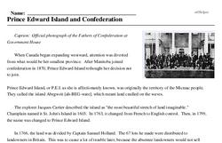 Print <i>Prince Edward Island and Confederation</i> reading comprehension.