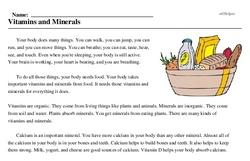 Print <i>Vitamins and Minerals</i> reading comprehension.