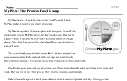 Print <i>MyPlate: The Protein Food Group</i> reading comprehension.