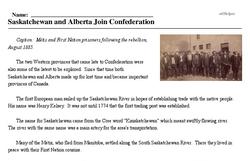 Print <i>Saskatchewan and Alberta Join Confederation</i> reading comprehension.