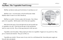Print <i>MyPlate: The Vegetable Food Group</i> reading comprehension.