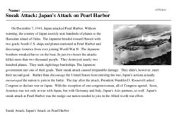 Print <i>Sneak Attack: Japan's Attack on Pearl Harbor</i> reading comprehension.