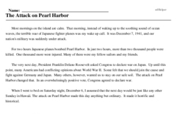 Print <i>The Attack on Pearl Harbor</i> reading comprehension.