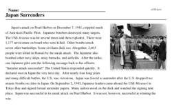 Print <i>Japan Surrenders</i> reading comprehension.
