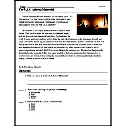 Print <i>The U.S.S. <i>Arizona</i> Memorial</i> reading comprehension.