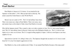 Print <i>Pearl Harbor</i> reading comprehension.