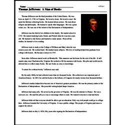 Print <i>Thomas Jefferson: A Man of Books</i> reading comprehension.