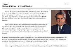 Print <i>Richard Nixon: A Hard Worker</i> reading comprehension.
