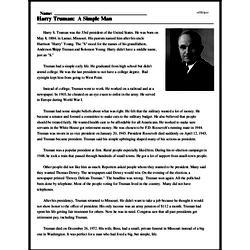 Print <i>Harry Truman: A Simple Man</i> reading comprehension.