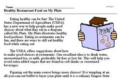Print <i>Healthy Restaurant Food on My Plate</i> reading comprehension.