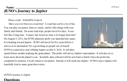 Print <i>JUNO's Journey to Jupiter</i> reading comprehension.