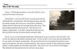 Print <i>The USS <i>Nevada</i></i> reading comprehension.