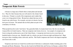 Print <i>Temperate Rain Forests</i> reading comprehension.