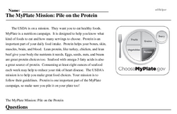 Print <i>The MyPlate Mission: Pile on the Protein</i> reading comprehension.