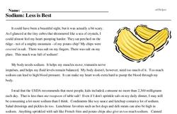 Print <i>Sodium: Less is Best</i> reading comprehension.