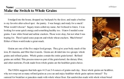 Print <i>Make the Switch to Whole Grains</i> reading comprehension.