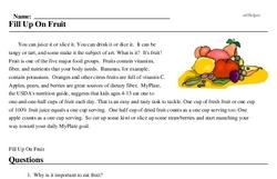 Print <i>Fill Up On Fruit</i> reading comprehension.