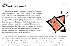 Print <i>Did You Get the Message?</i> reading comprehension.