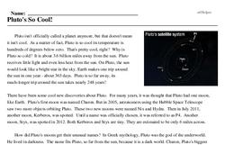 Print <i>Pluto's So Cool!</i> reading comprehension.