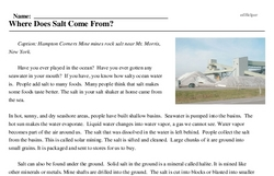 Print <i>Where Does Salt Come From?</i> reading comprehension.