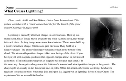 Print <i>What Causes Lightning?</i> reading comprehension.