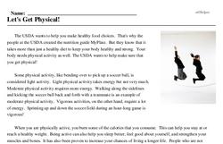 Print <i>Let's Get Physical!</i> reading comprehension.