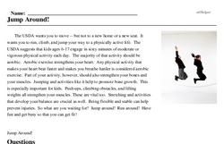 Print <i>Jump Around!</i> reading comprehension.