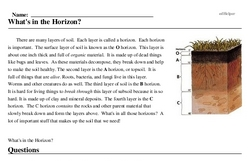 Print <i>What's in the Horizon?</i> reading comprehension.