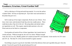 Print <i>Goodness, Gracious, Great Garden Soil!</i> reading comprehension.