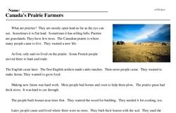 Print <i>Canada's Prairie Farmers</i> reading comprehension.