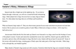Print <i>Saturn's Shiny, Shimmery Rings</i> reading comprehension.