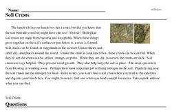 Print <i>Soil Crusts</i> reading comprehension.