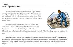 Print <i>Don't Spoil the Soil!</i> reading comprehension.