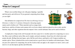 Print <i>What Is Compost?</i> reading comprehension.